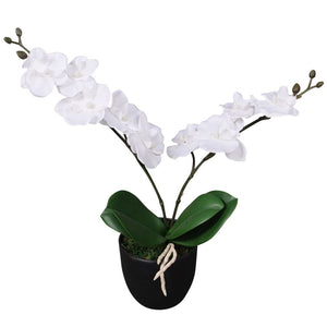 vidaXL Artificial Orchid Plant with Pot 30 cm White