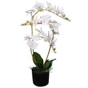 vidaXL Artificial Orchid Plant with Pot 65 cm White