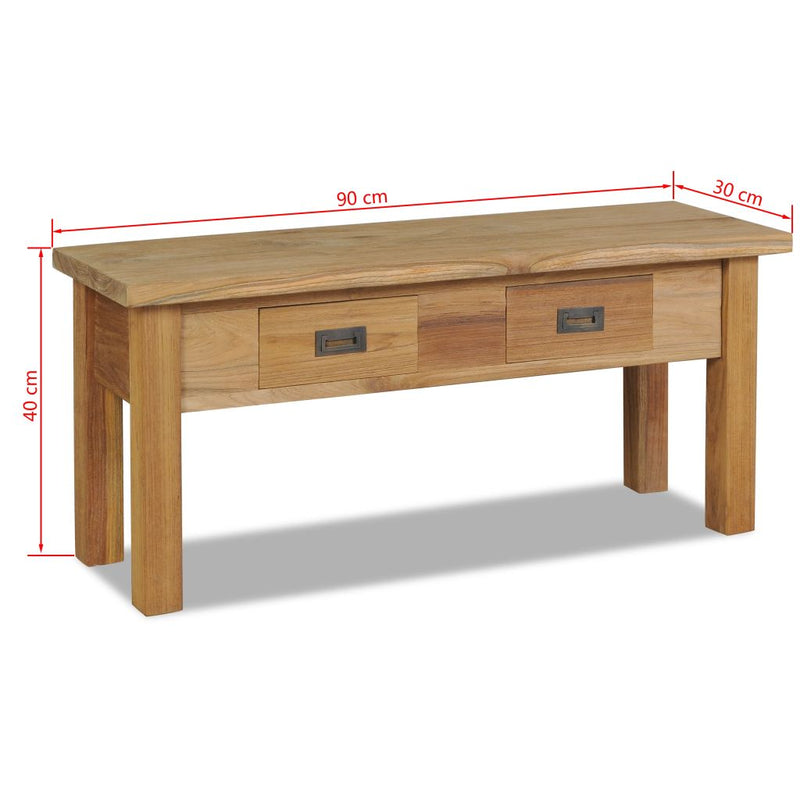vidaXL Hall Bench Solid Teak 90x30x40 cm - House of Isabella AU