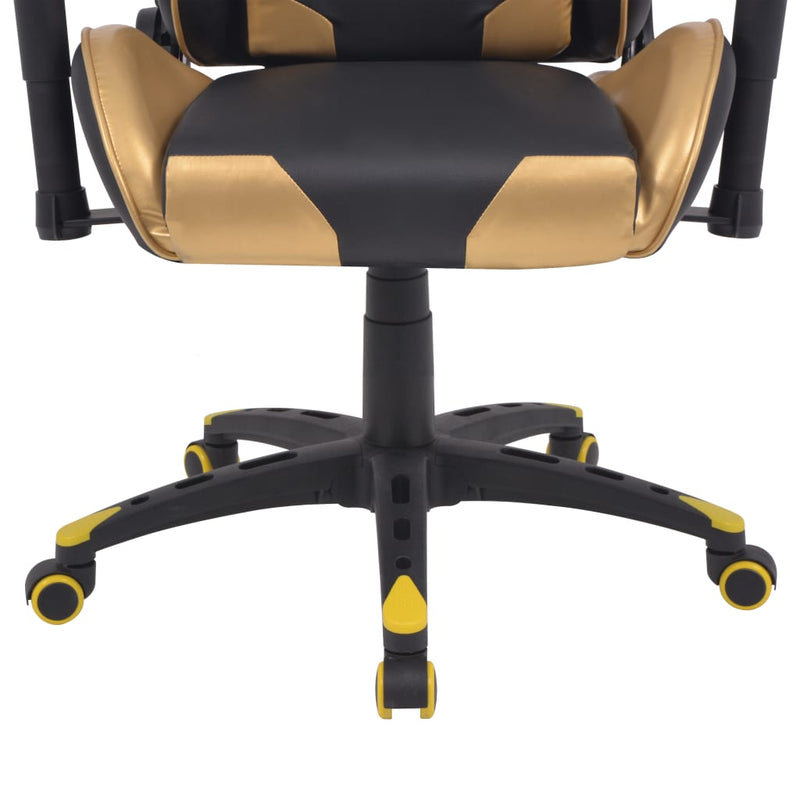 vidaXL Reclining Office Racing Chair Artificial Leather Gold - House of Isabella AU