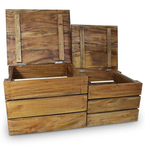 vidaXL Storage Crate Set 2 Pieces Solid Reclaimed Wood