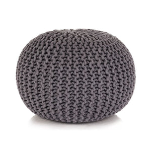 vidaXL Hand-Knitted Pouffe Cotton 50x35 cm Grey