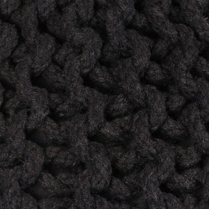vidaXL Hand-Knitted Pouffe Cotton 50x35 cm Black