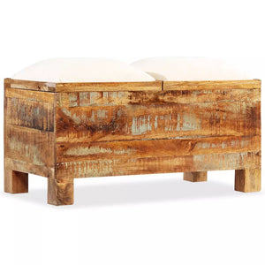 vidaXL Storage Bench Solid Reclaimed Wood 80x40x40 cm