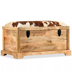 vidaXL Storage Bench Genuine Leather and Solid Mango Wood 80x44x44 cm