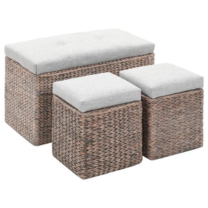 vidaXL Bench with 2 Ottomans Seagrass Grey