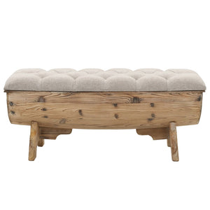 vidaXL Storage Bench 103x51x44 cm Solid Wood and Fabric