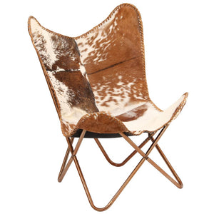 vidaXL Butterfly Chair Brown and White Genuine Goat Leather