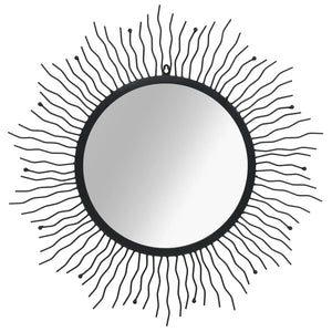 vidaXL Wall Mirror Sunburst 80 cm Black