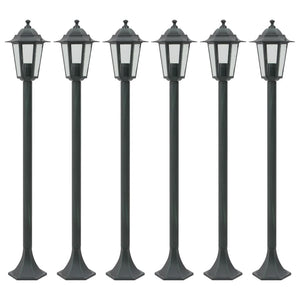 vidaXL Garden Post Lights 6 pcs E27 110 cm Aluminium Dark Green
