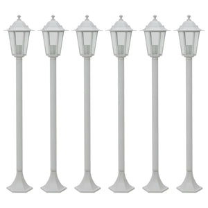 vidaXL Garden Post Lights 6 pcs E27 110 cm Aluminium White