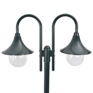 vidaXL Garden Post Light E27 220 cm Aluminium 2-Lantern Dark Green