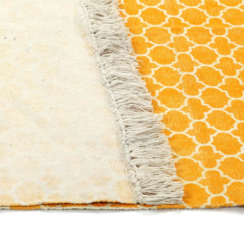 vidaXL Kilim Rug Cotton 120x180 cm with Pattern Yellow - House of Isabella AU
