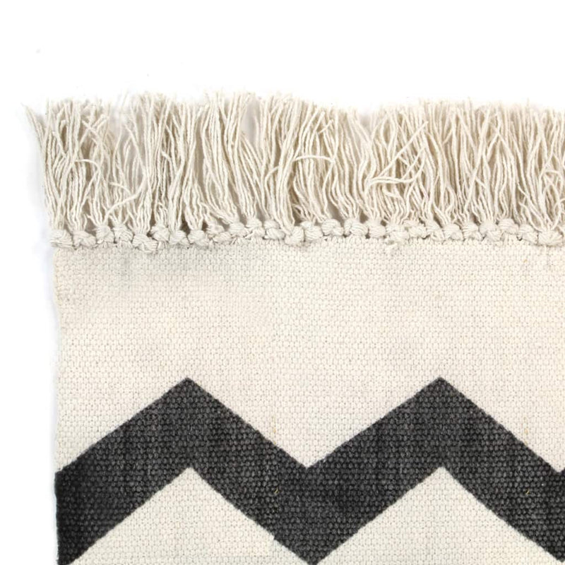 vidaXL Kilim Rug Cotton 120x180 cm with Pattern Black/White - House of Isabella AU