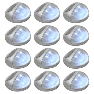 vidaXL Outdoor Solar Wall Lamps LED 12 pcs Round Silver
