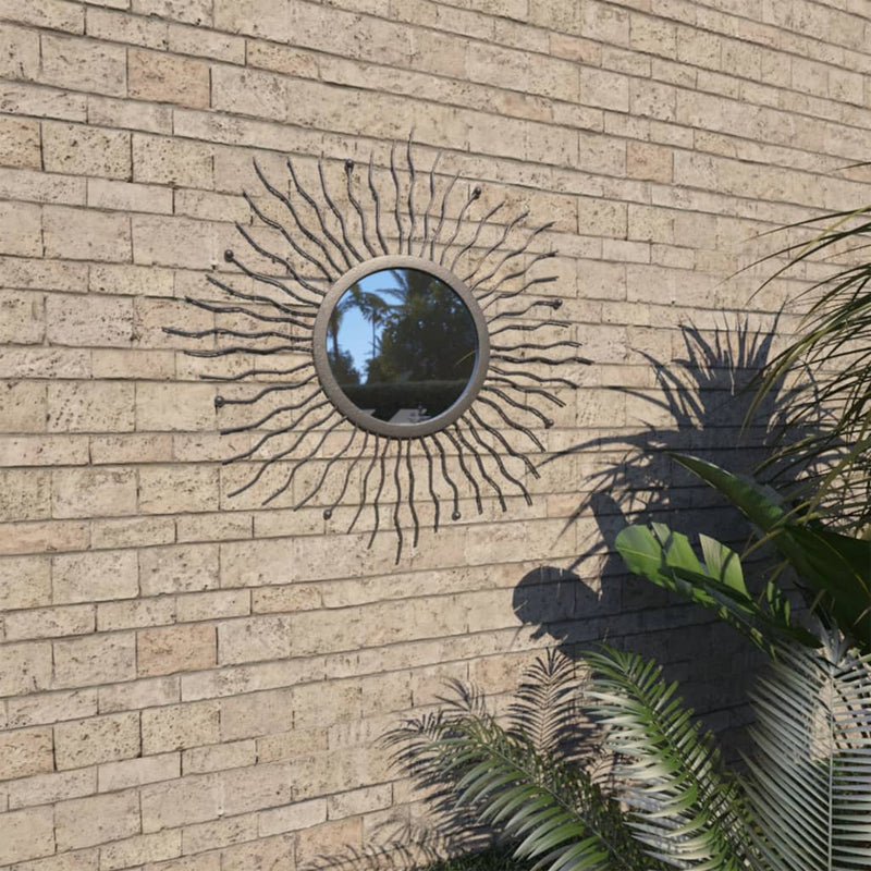 vidaXL Garden Wall Mirror Sunburst 60 cm Black - House of Isabella AU