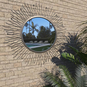 vidaXL Garden Wall Mirror Sunburst 80 cm Black