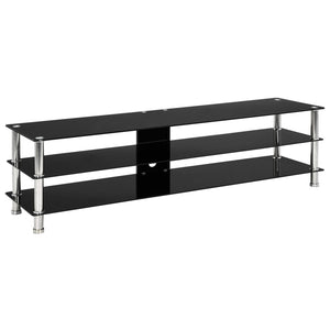vidaXL TV Stand Black 150x40x40 cm Tempered Glass