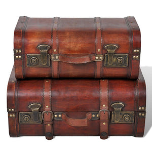 vidaXL Wooden Treasure Chests 2 pcs Vintage Brown