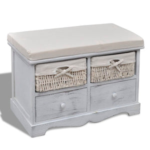 vidaXL Storage Bench White  62x33x42 cm Paulownia Wood