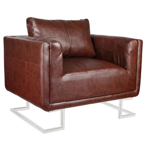 vidaXL Cube Armchair with Chrome Feet Brown Faux Leather