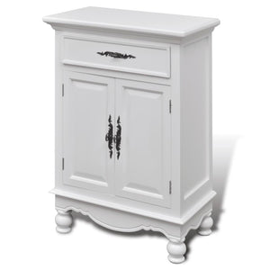 vidaXL Wooden Cabinet with 2 Doors 1 Drawer White