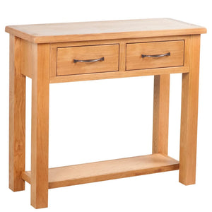 vidaXL Console Table with 2 Drawers 83x30x73 cm Solid Oak Wood