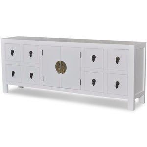 vidaXL Wooden Sideboard Asian Style with 8 Drawers and 2 Doors