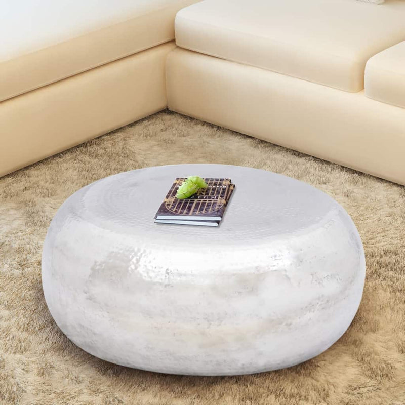 vidaXL Hammered Coffee Table Aluminium Silver - House of Isabella AU