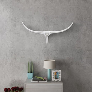 Wall Mounted Aluminium Bull's Head Decoration Silver 72 cm