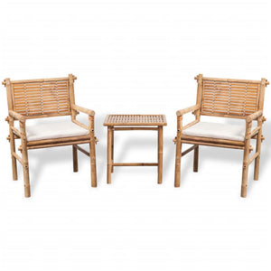 vidaXL 3 Piece Bistro Set with Cushions Bamboo