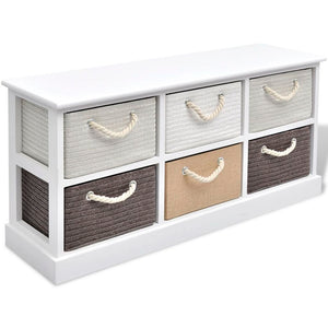 vidaXL Storage Bench 6 Drawers Wood