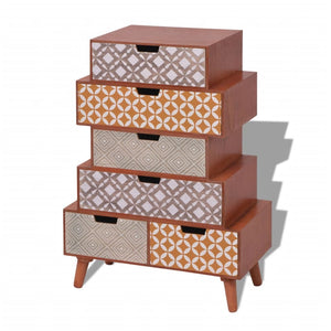 vidaXL Side Cabinet 6 Drawers Brown