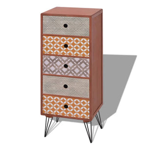 vidaXL Side Cabinet 5 Drawers Brown
