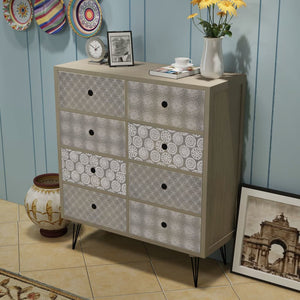 vidaXL Sideboard 8 Drawers Grey