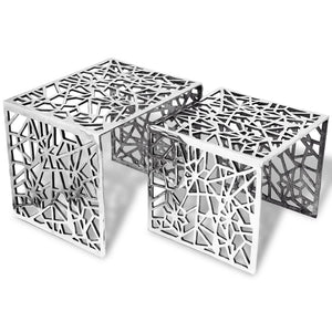 vidaXL Two Piece Side Tables Square Aluminium Silver