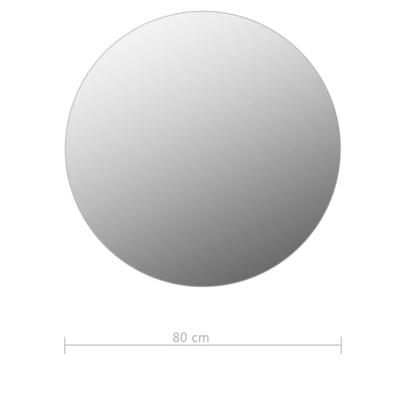 vidaXL Frameless Mirror Round 80 cm Glass - House of Isabella AU