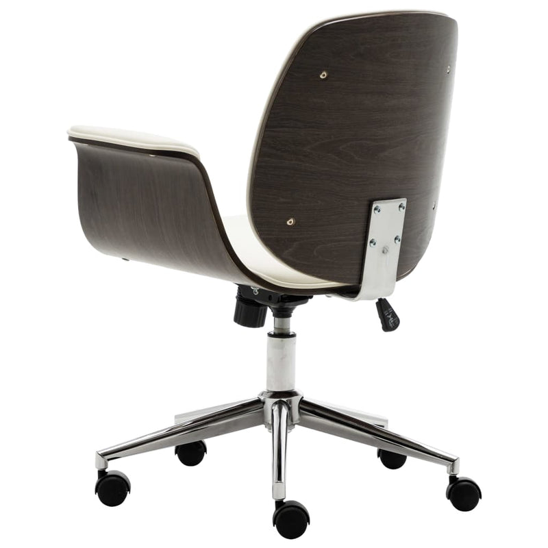 vidaXL Office Chair White Bent Wood and Faux Leather - House of Isabella AU