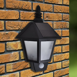 vidaXL Solar Wall Lamps 2 pcs with Motion Sensor Black