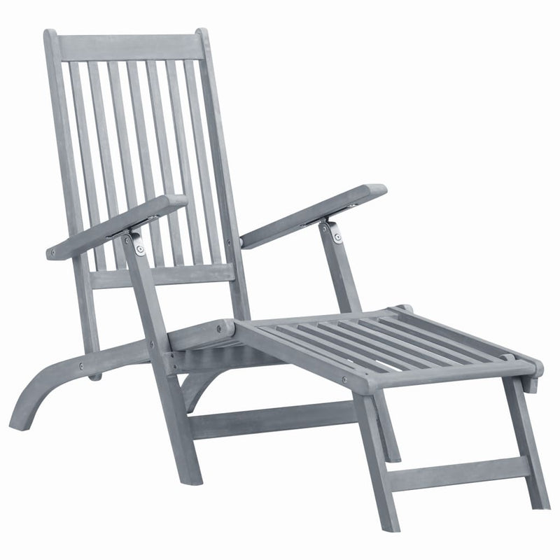 vidaXL Outdoor Deck Chair with Footrest Grey Wash Solid Acacia Wood - House of Isabella AU