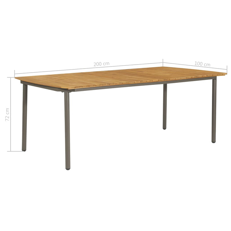 vidaXL Garden Table 200x100x72cm Solid Acacia Wood and Steel - House of Isabella AU