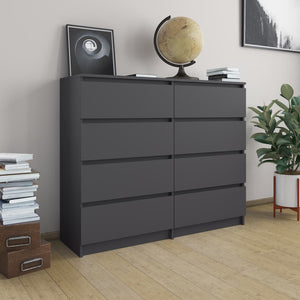 vidaXL Drawer Sideboard Grey 120x35x99 cm Chipboard