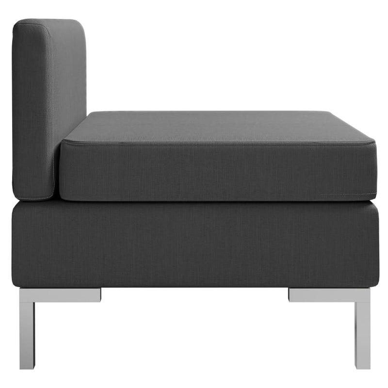 vidaXL Sectional Middle Sofa with Cushion Fabric Dark Grey - House of Isabella AU