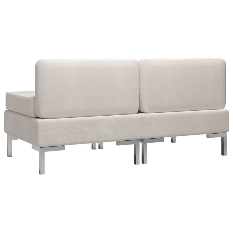 vidaXL Sectional Middle Sofas 2 pcs with Cushions Fabric Cream - House of Isabella AU