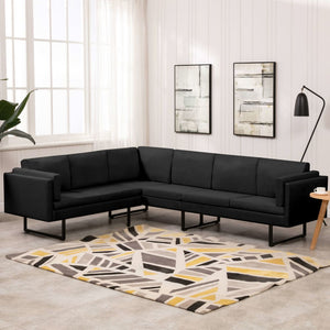 vidaXL Corner Sofa Black Fabric