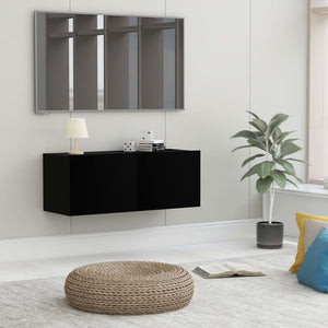 vidaXL TV Cabinet Black 80x30x30 cm Chipboard