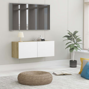 vidaXL TV Cabinet White and Sonoma Oak 80x30x30 cm Chipboard