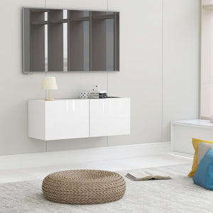 vidaXL TV Cabinet High Gloss White 80x30x30 cm Chipboard