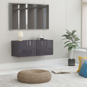 vidaXL TV Cabinet High Gloss Grey 80x30x30 cm Chipboard