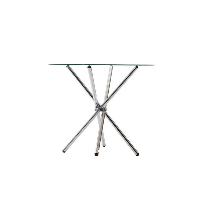 Artiss Round Dining Table 4 Seater 90cm Tempered Glass Clear Chrome Steel Legs Cross Cafe Kitchen Tables